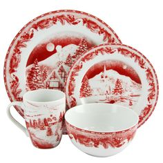 Shop for Gibson Elite Winter Cottage 16 piece Dinnerware Decorated Set in Red. Get free delivery at Overstock - Your Online Kitchen & Dining Outlet Store! Get in rewards with Club O! Stoneware Dinnerware Sets, Square Dinnerware Set, Porcelain Dinnerware, Tableware, Serveware, Hygge Christmas, Christmas China, Christmas Dishes, Merry Christmas