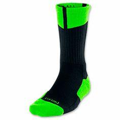 Men's Jordan Dri-FIT Crew Socks| FinishLine.com | Black/Electric Green
