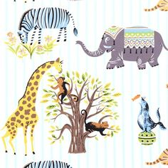 striped Michael Miller fabric Escapees with animals