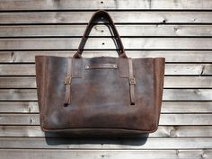 Vintage look waxed leather bag in #brown by treesizeverse