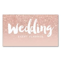 Wedding planner modern typography blush rose gold business card