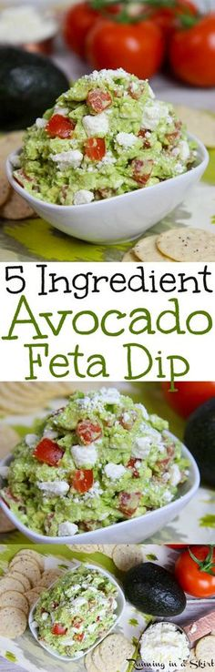 ed067108bc2c5 5 Ingredient Easy Avocado Feta Dip recipe- Mediterranean flavors with  lemon, garlic and tomato