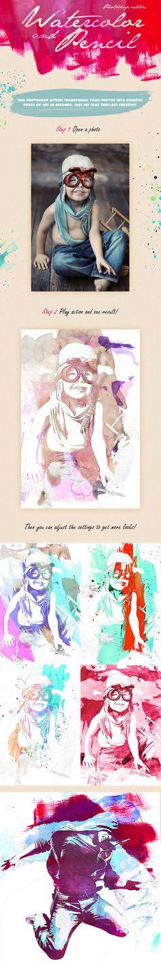 8-Watercolor - Pencil Photoshop Action