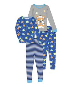Take a look at this Candlesticks Gray & Navy Space Dog Pajama Set - Infant, Toddler & Boys today!