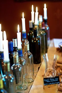 empty wine bottle decor with candles - for wine tasting bridal party