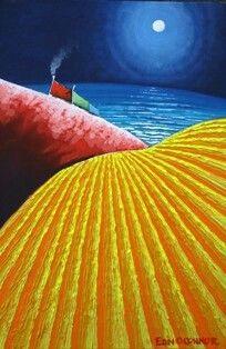 Harvest Moon by Eoin O'Connor. Love his use of colours. Irish Art, Harvest Moon, Landscape Art, Colours, Artists, Artwork, Diy, Inspiration, Biblical Inspiration