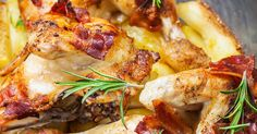 Main dishThis Bacon Baked Chicken And Potatoes Is Mouthwateringly Good! Everyone Will Be Coming Back For Seconds! Turkey Recipes, Meat Recipes, Chicken Recipes, Cooking Recipes, Healthy Recipes, Recipies, Dinner Recipes, 12 Tomatoes Recipes, Food Dishes