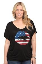 Black Stars And Stripes Lips V-Neck Tee SKU: 512501