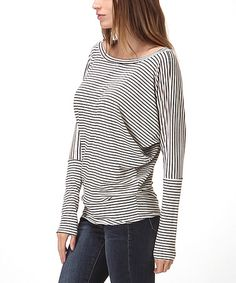 Another great find on #zulily! Oatmeal Stripe Dolman Top by Bellino #zulilyfinds
