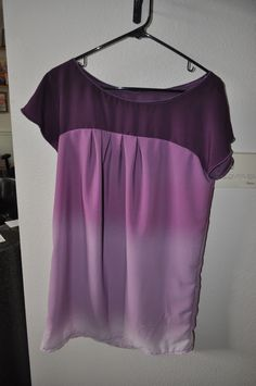Simplicity 2147 View B mini dress made from purple ombre fabric.