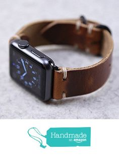 Horween Leather Apple Watch Band English Tan Dublin from Choice Cuts Industries https://smile.amazon.com/dp/B01FWJV55C/ref=hnd_sw_r_pi_dp_cAjJxbA0TR8TT #handmadeatamazon