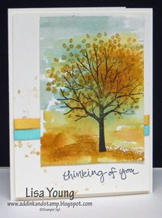 I used re-inkerss and an aqua painter for the background. I stamped the leaves and grass while the watercolor paper was still damp. My blog post: http://addinkandstamp.blogspot.com/2015/02/watercolored-sheltering-tree.html  TFL. Lisa Young
