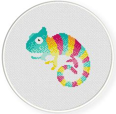 Charts Club Members Only: Cute Chameleon Cross Stitch Pattern