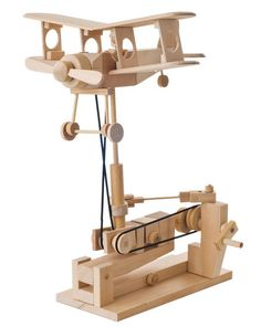wooden automata | Hand-cranked wooden biplane automaton by Timberkits