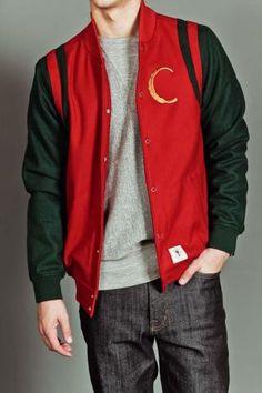 Men's Woven Baseball Jacket-Hi Luxe Scarlet