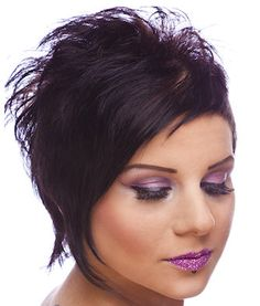 Purple Tinge on an Edgy Haircut with Asymmetrical Bangs. - See more at: http://www.short-hairstyles.com/short/s15.htm