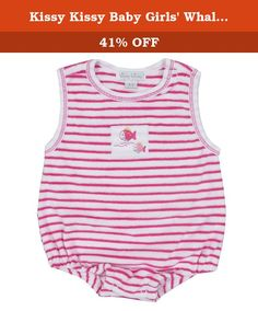 Kissy Kissy Baby Girls' Whale Tails Terry Stripe Bubble - Fuschia-0-3mos. Kissy Kissy - Whale Tails Terry Stripe Bubble - Fuschia.