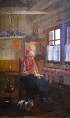 Knitting girl, Marken, Netherlands. Zuiderzeemuseum, Enkhuizen. Knitting Quotes, Knitting Humor, Art Du Fil, Knit Art, Hans Christian, Sewing Art, Illustrations, Female Art, Painting & Drawing