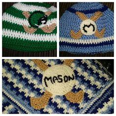 Gaa inspired crochet hat and blanket Afghans, Crocheting, Crochet Hats, Beanie, Inspired, Baby, Inspiration, Crochet, Knitting Hats