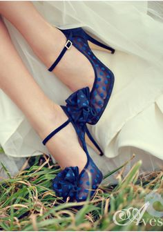 Navy Blue Polka Dotted Heels: How precious are these shoes? I love that they're see-through and have that 50's look to them with the addition of the thin strap around the ankle. #fashion