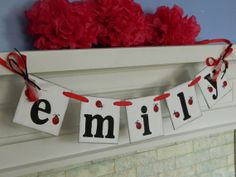 Lady Bug Name Banner Baby Shower Decoration by anyoccasionbanners, $18.00