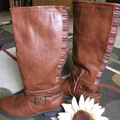 """Pink & Pepper boots  Up to the knee boots 1.5"""" heel  Side zipper and back boot zipper bronze colored hardware and cute fabric design up the back of the boots excellent condition boots are man-made material Pink & Pepper Shoes"""
