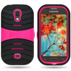 For Samsung Galaxy Light Pink Black Hybrid Stand Tough Protective Cover Case #CoverON
