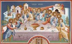Last Supper, Orthodox Icons, Ikon, Fresco, Christianity, Religion, Canvas, Painting, Table