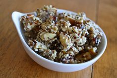 Super easy quinoa granola- the quinoa adds a delightful crunch. I just made it and the smell is fabulous!