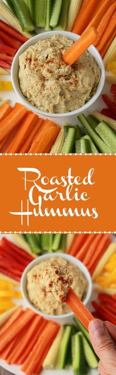 Creamy and Delicious Roasted Garlic Hummus. Vegan and Gluten-Free. Ideal as an appetizer or dip! Vegan   Gluten-Free   Vegan Food   Recipes