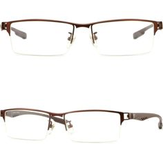 e68a5b1bf8 Details about Light Men s Women s Titanium Alloy Frames Rectangle  Prescription Glasses Brown