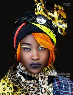 """avant garde editorial in Volt Cafe Magazine, featuring British beauty Betty Adewole"""