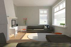 Impressie van een kleine woonkamer die door de indeling, licht, ruim ...