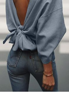 Cute blouse back design – Style Tips Mode Outfits, Casual Outfits, Fashion Outfits, Womens Fashion, Fashion Trends, Fashion Styles, Casual Wear, Fashion Ideas, Looks Style