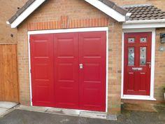 Bi-fold garage door to complement an existing front door