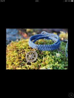 Antique Bronze Compass  Handmade Macrame Bracelet Blue Adjustable three wrap around wrist The Wicked Gift Show, Etsy