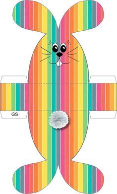 Sandra y la Educación Inicial: Molde para hacer una cajita con forma de conejo.