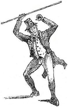 "Brandishing a shillelagh. From ""Broad-Sword and Single-Stick"" by R.G. Allanson-Winn."
