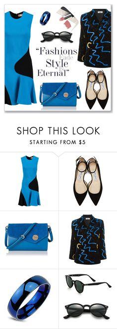 """Style is eternal"" by elli-argyropoulou ❤ liked on Polyvore featuring Emilio Pucci, Jimmy Choo, Kansai Yamamoto, Ray-Ban, Sigma, black, babyblue, minidress and twotonedress"