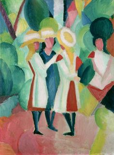 artmastered: August Macke, Three Girls in Yellow Straw Hats, 1913, oil on canvas, 104 x 87.5 cm, Gemeentemuseum, The Hague. Source This is one of Macke's last paintings, (he died in 1914 at the age of 27). The Fauvists had been working and developing in the years just before this and their influence on Macke is clear to see here, with the abstraction of vibrant wild colours.