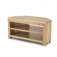 With clean lines and a simple geometric design, the natural toned corner TV unit will add warmth and character to your home. Small Corner Tv Stand, Oak Corner Tv Unit, Corner Tv Cabinets, Small Tv Unit, The Unit, Tv Stand For Sale, Plasma Tv Stands, Television Cabinet, Dining Corner