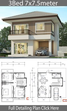 House design plan with 3 bedrooms – Home Design with Plansearch Haus Design Plan mit 3 Schlafzimmern – Home Design with Plansearch My Dream Home with layout plan Two Storey House Plans, 2 Storey House Design, My House Plans, Duplex House Design, House Layout Plans, Duplex House Plans, Simple House Design, House Front Design, Bedroom House Plans