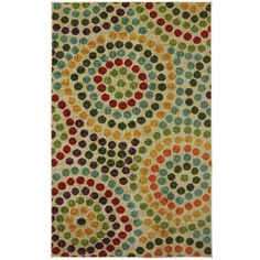 Rings of primary colors are combined to create a mosaic tile effect in this affluent area rug. Instantly transform any room in your home with this luxurious, chic and durable Mosaic Stones tufted rug.