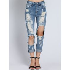 Distressed Mid-rise Denim Jeans BLUE ($22) ❤ liked on Polyvore featuring jeans, blue, ripped jeans, torn jeans, destruction jeans, mid-rise jeans and vintage ripped jeans