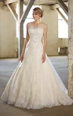 Essense of Australia - Style D1369 - This stunning lace wedding dress comes with a detachable illusion neckline and features beaded lace embellishments with Swarovski crystals on the sweetheart bodice and natural waist. Lace hem is finished with wide scallop edge and flows full into a chapel train.