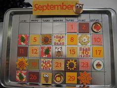 magnetic calendar - cookie sheet, scrapbook paper, magnets, etc