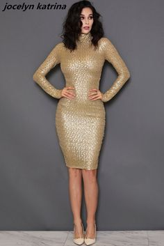 jocelyn katrina brand Style for Ladies Sexy Sequins Pencil Bodycon Dresses Solid Sparkling Dress Femme  Party Night Club Dress #Affiliate