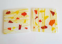 Autumn themed fused glass coaster set Glass Coasters, Coaster Set, Fused Glass, Autumn, Red, Handmade, Etsy, Products, Hand Made