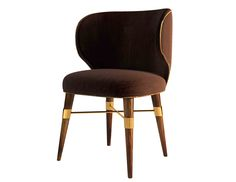 With brown velvet and a contrasting golden piping, a classic design radiates from this chair's modern lines. The Louis dining chair rests on solid walnut legs with Ottiu's signature brass accents.