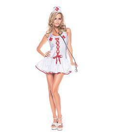 Love this White & Red Halter Dress Nurse Costume Set - Women on #zulily! #zulilyfinds